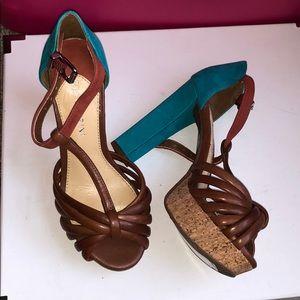 Teal and brown Gianni Bini block heel sandals!